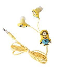 Kuhu Creation Single Eye Minion Wired Earphone With 3 Pair Earbuds In Gift Pack - Yellow