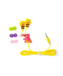 Kuhu Creation Sponge Bob Earphone With 3 Pair Earbuds In Gift Pack - Yellow