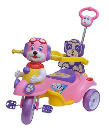 Happykids Musical Tricycle With Guiding Handle And Carrier Box - Pink