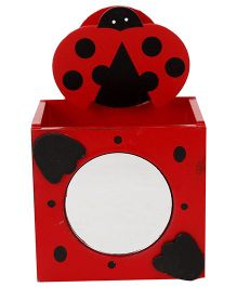 Wooden Pen Stand Bug Applique - Red