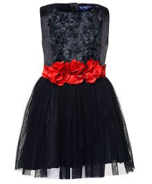 Toy Balloon Sleeveless Layered Empire Dress Floral Applique - Black