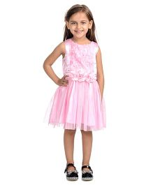 Toy Balloon Sleeveless Party Wear Dress Floral Applique - Pink