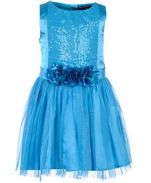 Toy Balloon Sleeveless Sequin Empire Dress Floral Applique - Blue