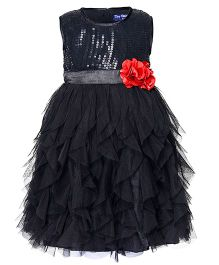 Toy Balloon Sleeveless Sequin Water Fall Dress Floral Applique - Black