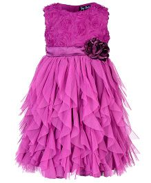 Toy Balloon Sleeveless Water Fall Dress Floral Applique - Purplish Pink
