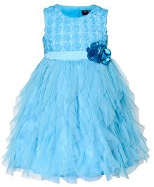 Toy Balloon Sleeveless Water Fall Dress Floral Applique - Sky Blue