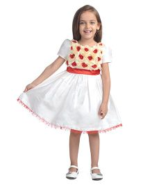 Toy Balloon Half Sleeves Rose Applique Party Dress - Off White