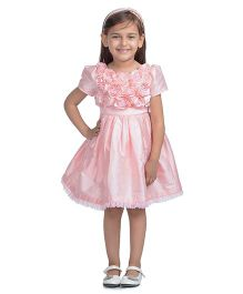 Toy Balloon Half Sleeves Rose Applique Party Dress - Pink
