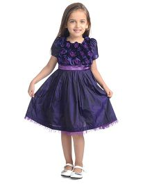 Toy Balloon Half Sleeves Rose Applique Party Dress - Purple
