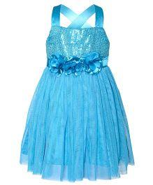 Toy Balloon Singlet Sequin Party Dress Floral Applique - Blue