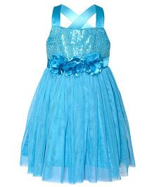 Toy Balloon Singlet Sequin Party Dress Floral Applique - Blue