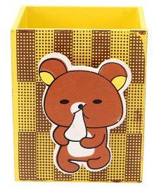 Wooden Pen Stand Bear Design - Yellow