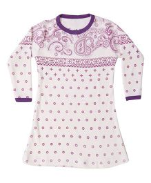 Earth Conscious Full Sleeves Frock Floral Print - Purple and White