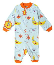 Earth Conscious Full Sleeves Romper Sun and Moon Print - Blue