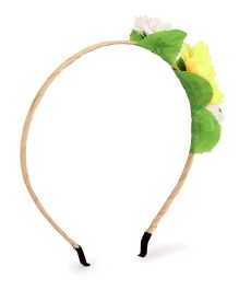 Vitamins Hair Band Floral Appliques - Green Cream