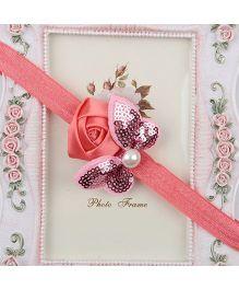 Pikaboo Headband Sequin Bow Applique - Pink