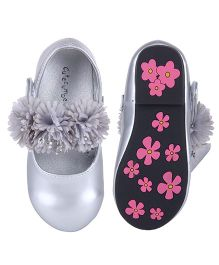 Cutecumber Party Wear Belly Shoes Floral Applique - Silver