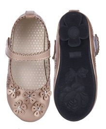 Cutecumber Party Wear Belly Shoes Floral Applique - Gold