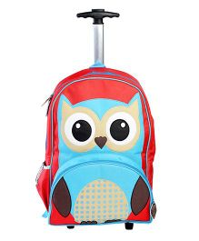 My Gift Booth Travel Trolley Bag Owl Print - Red