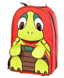 My Gift Booth Travel Trolley Bag Turtle Print - Red And Green