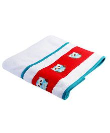 My Gift Booth Bath Towel Owl Print - Red And White