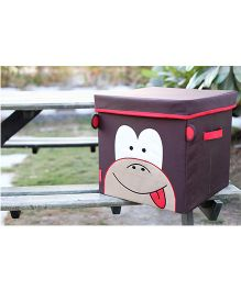 My Gift Booth Lidded Storage Stool Cum Box Monkey Design - Brown