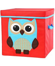 My Gift Booth Lidded Storage Stool Cum Box Owl Print - Brown