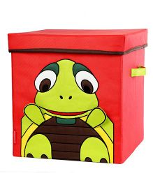 My Gift Booth Lidded Storage Stool Cum Box Turtle Design - Red