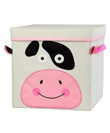 My Gift Booth Lidded Storage Stool Cum Box Cow Design - Cream And Pink