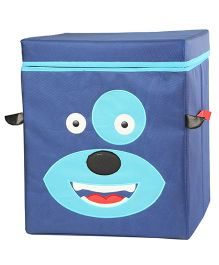 My Gift Booth Lidded Storage Stool Cum Box Doggy Design - Blue