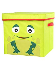 My Gift Booth Lidded Storage Stool Cum Box Frog Design - Green