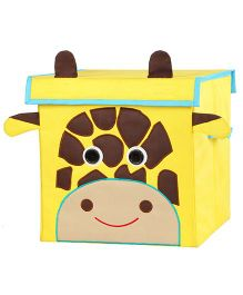 My Gift Booth Lidded Storage Stool Cum Box Giraffe Design - Yellow