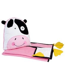 My Gift Booth Cow Design Fleece Cushion And Quilt Set - White And Pink