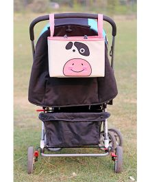 My Gift Booth Owl Print Pram Organiser - Cream And Pink