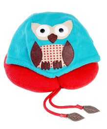 My Gift Booth Owl Motif Fleece Neck Rest - Red And Blue