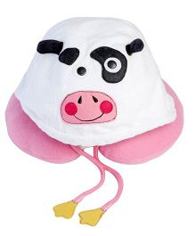 My Gift Booth Cow Motif Fleece Neck Rest - Cream and Pink