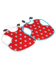 My Gift Booth Owl Design Bibs Red - Set Of 2