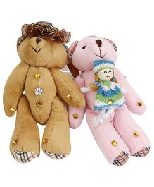 Curtain Holder Teddy Soft Toy - Brown Pink