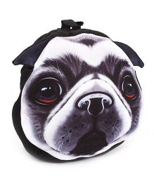 Puppy Face Print Soft Toy Bag - Black