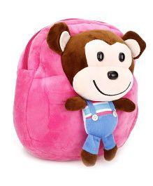 Monkey Applique Soft Toy School Bag - Pink