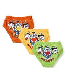 Doraemon Printed Briefs Set of 3 - Green Yellow Orange