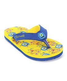Cute Walk by Babyhug Flip Flops Printed Foot Bed - Yellow & Royal Blue