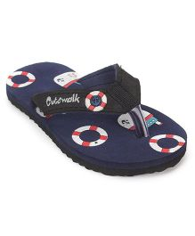 Cute Walk by Babyhug Boat Print Flipflops - Navy Blue Black