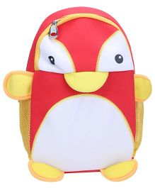 Penguin Shaped School Backpack - Red And Yellow