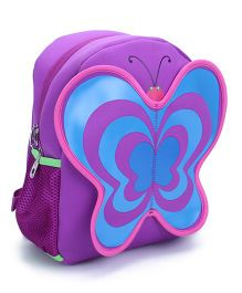 Butterfly Applique School Backpack - Purple