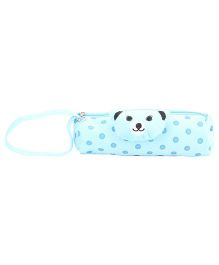 Pencil Pouch Teddy Applique - Light Blue