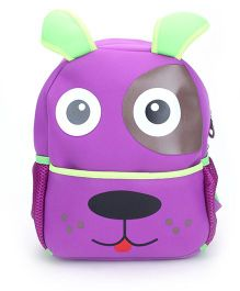 Puppy Face Print School Backpack - Purple