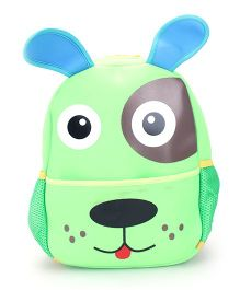 Puppy Face Print School Backpack - Green And Blue