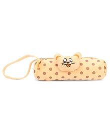 Pencil Pouch Polka Dot Design - Brown