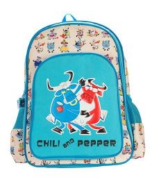 Safari Bags Chili And Pepper Print Backpack Blue - 14 inches